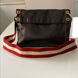 Bally black leather striped canvas cross body